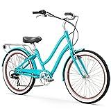 sixthreezero EVRYjourney Women's 7-Speed Step-Through Hybrid Cruiser Bicycle, Teal w/Black Seat/Grips, 26' Wheels/ 17.5' Frame