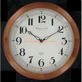 Amazon Com 20 Quot Round Wood Wall Clock By Sterling Amp Noble