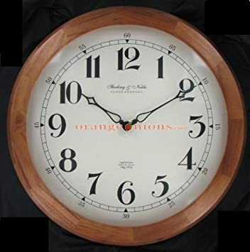 Amazoncom 20 Round Wood Wall Clock by Sterling Noble Clock Co