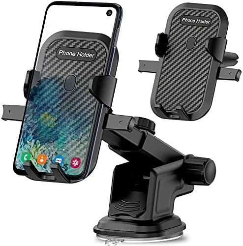 Car Mount Phone Holder for LG Velvet Wing,K92 K51 Q70,Stylo 6 5 4,V60 G8 G8X G7 V50 V40 V35 Thinq V30,Aristo,Nokia C5 Endi 7.2 5.4 and All Cell Mobile,Dashboard Windshield+Air Vent,Long Arm Suction