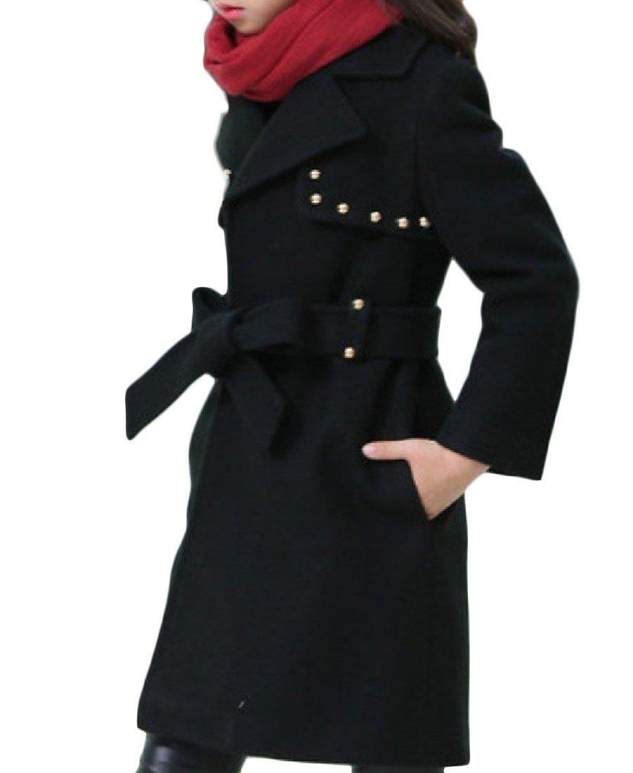 DoufineBaby Doufine Girl's Belted Autumn Winter Trench Coat Thick Woolen Jacket Black 120cm