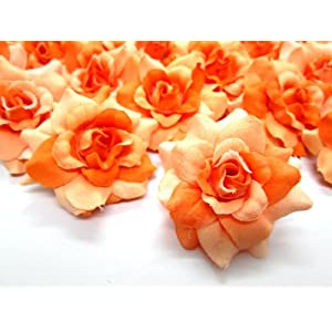 "(24) Silk Two-tone Orange Roses Flower Head - 1.75"" - Artificial Flowers Heads Fabric Floral Supplies Wholesale Lot for Wedding Flowers Accessories Make Bridal Hair Clips Headbands Dress 23"