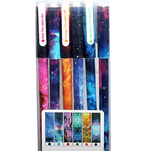 JX HHB-03 Colored Gel Ink Pen,Fine Point Rollerball Pen,Pack of 6 Assorted Vibrant Colors,Cool Galaxy Starry Sky Pattern