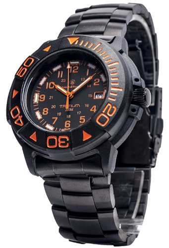 Smith & Wesson Men's SWW-900-OR Diver Swiss Tritium Black Dial Metal and Rubber Band Watch (Band Dial Ss Bezel Black)