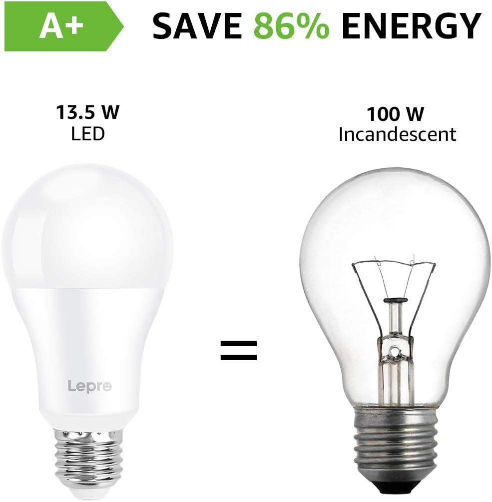 Lepro E27 LED Birne 6er Set 13.5 W 1521 Lumen LED Lampe E27 200/° Energiesparlampe ersetzt 100W Gl/ühbirne A60 Leuchtmittel E27 2700 Kelvin Warmwei/ß LED Bulb