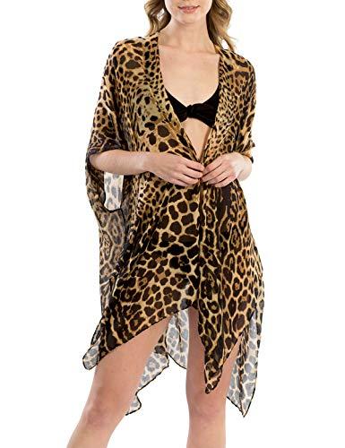 (MIRMARU Women's Leopard Print Swimsuits Bikini Cover Up Summer Beach Swimwear, Bikini Beachwear Tassel Kimono Cardigan. (LOF799, Brown))