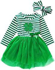 Yixius Baby Girl St. Patrick's Day Dress Outfit Long Sleeve Stripe Tulle Tutu Skirt Dresses with Headband