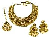 Matra Goldtone Kundan Stone Indian Women Designer 3 Pcs Choker Necklace Set Jewelry