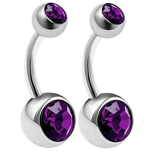 - 2Pcs Surgical Steel 14 gauge 5/16 8mm navel belly button Piercing Jewelry ear navel 8mm and 5mm Amethyst Crystal Ball M0467