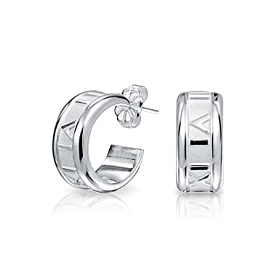 422676914 Image Unavailable. Image not available for. Color: Tiny Carved Roman  Numeral Sleek Huggie Hoop Earrings For Women 925 Sterling Silver Polished  Finish