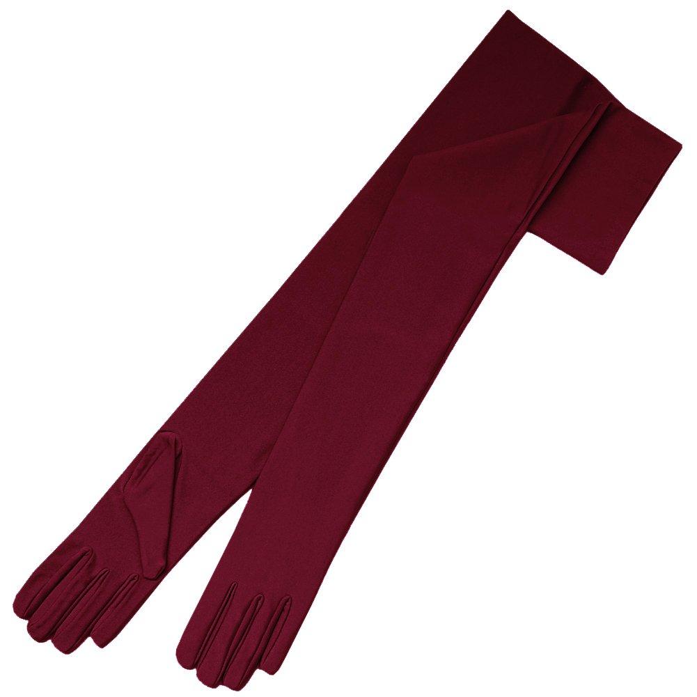 ZaZa Bridal 23.5'' Long 4-Way Stretch Matte Finish Satin Dress Gloves Opera Length 16BL-Burgundy