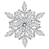 EVER FAITH Women s Full CZ Marquise Shape Winter Snowflake Corsage Brooch Pin Clear Silver-Tone