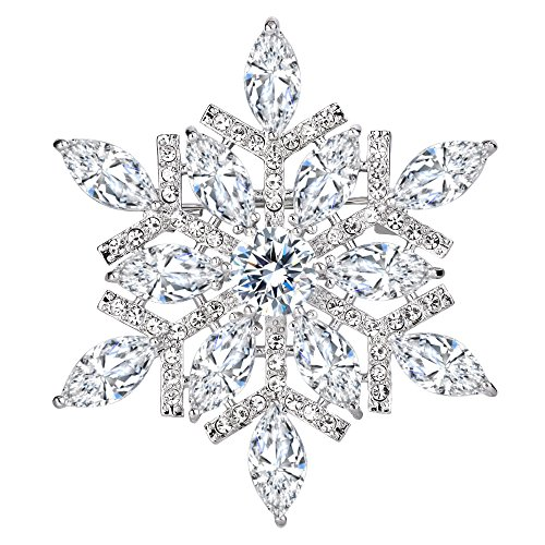 EVER FAITH Women's Full CZ Marquise Shape Winter Snowflake Corsage Brooch Pin Clear Silver-Tone -