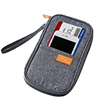 HAOCOO Travel Wallet Passport Holder,Multi Purpose Family Travel Organizer for Passport Credit Id Card Cash Debris with Hand Strap (Gray Blue)