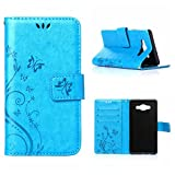 MOONCASE Galaxy A5 Wallet Case Flower Pattern Premium PU Leather Case for Samsung Galaxy A5 Bookstyle Soft TPU [Shock Absorbent] Flip Bracket Cover Blue