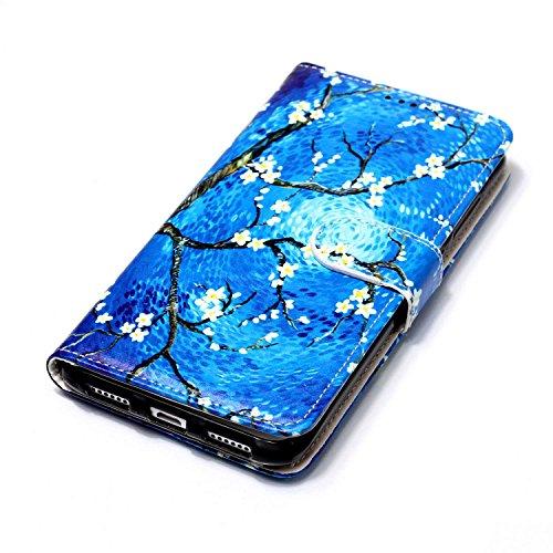 Huawei P8 Lite 2017 Hülle, Chreey Premium PU Leder Tasche Klapphülle 3D Muster Kreatives Design Brieftasche Handyhülle mit Magnet Kartenfächer Standfunktion Schutzhülle Bumper Etui [Bunt Stammes] Blauer Ölgemälde Baum