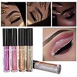 Liquid Eye Shadow Eyeliner, Staron 6 Pcs Magnificent Metals Glitter Liquid Eye Shadow Shimmer Waterproof Metallic Shiny Smoky Liquid Eyeliner Eyeshadow (Multicolor❤️)