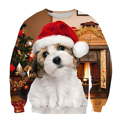 Leapparel Womens Christmas Cute Dog Sweatshirt 3D print Santa Crewneck Pullover Sweater, Xmas Dog, US XS/Asian Tag S