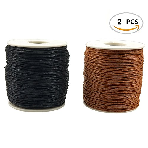 2 Rolls of 1mm 218 Yards Waxed Cotton Cord Thread String for Jewelry Making Beading Crafting by CSPRING (1 Mm Cotton)