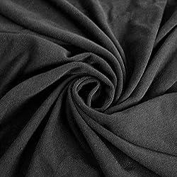 Black Stretch Jersey With Merino-like Wool Brush Hacci Brush Knit Fabric