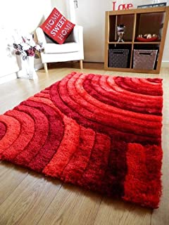 Rugs Superstore New Bright Rot Bunt Luxuriose Dick Hochflor Teppich