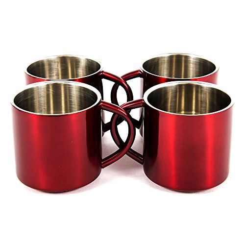 (Red Stainless Steel Double Wall Espresso Cups, XL, Set of 4)