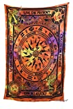Amitus Exports TM Premium Quality 1 X Cycle Of Ages 79''x53''(Approx.) Inches Orange Multi Tie And Dye Color Twin Size Cotton Fabric Tapestry Hippy Indian Mandala Throws (Handmade In India)