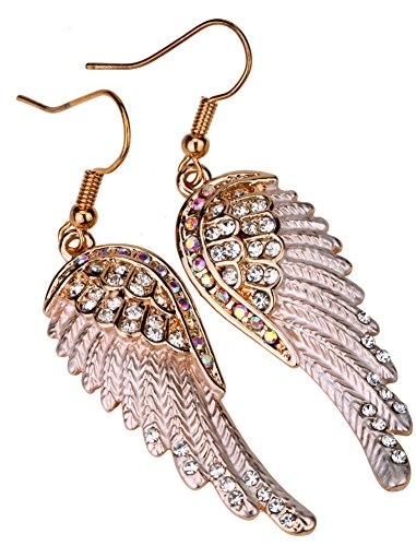 Angel Jewelry Women's Crystal Angel Wings Dangle Earrings -