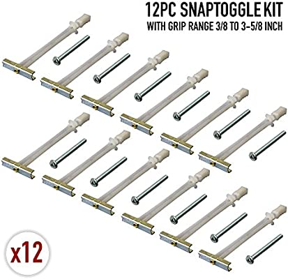 12 Pieces TOGGLER SNAPTOGGLE Drywall Anchor with included bolts for 1//4-20