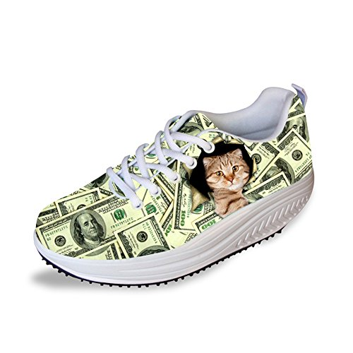 Blue Fitness Cute Women's Money Sneakers Ups 1 Shape HUGSIDEA Platform X7Ygq6P