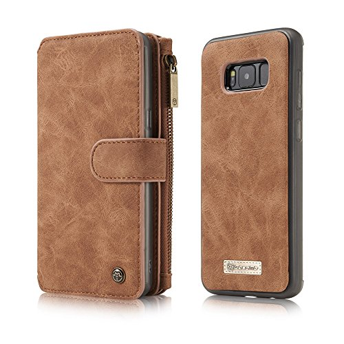 Galaxy S8 Wallet Case, Galaxy S8 Case,KingTo Flip Stand Smart Wallet Cover PU Leather Credit Card Slot Cash Holder Protective Case for Samsung Galaxy S8 5.8'', Light Brown by KingTo (Image #2)