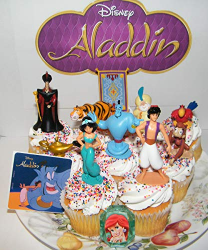 Aladdin Movie Deluxe Cake Toppers Cupcake Decorations 12 Set with 10 Figures, Aladdin Sticker and PrincessRing Featuring Fun Characters, Magic Lamp, Flying Carpet Etc!