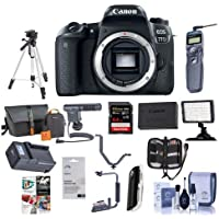 Canon EOS 77D DSLR Body - Bundle with 32GB SDHC Card, Camera Bag, Tripod, Video Light, Shotgun Mic, Spare Battery, Remote Shutter Release, Memory Wallet, Flip Flash Bracket, Software Package