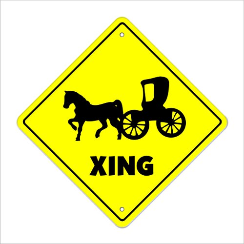 Horse And Carriage Crossing Sign Zone Xing | Indoor/Outdoor | 12