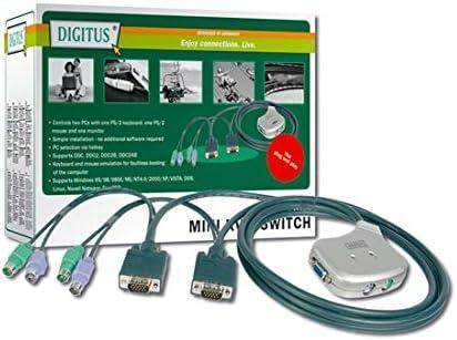 1 Tastiera Ps2 e 1 Monitor VGA con Cavi Inclusi Digitus LP7019 Mini Data Switch per 2 PC Ps2//Vga con 1 Mouse Dc Oc12