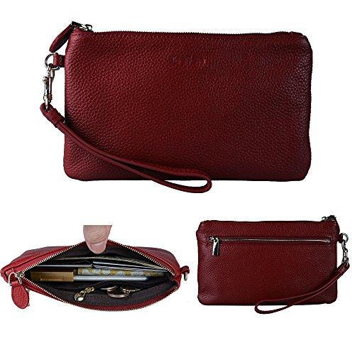- Befen Women Full Grain Leather Clutch Wristlet Wallet, Smartphone Wristlet Wallet Purse - Burgundy