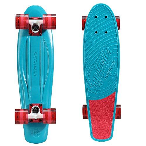 """Kryptonics Original Torpedo 22.5"""" Skateboard, Aqua Blue"""