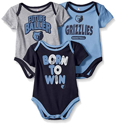 Outerstuff NBA NBA Newborn & Infant Memphis Grizzlies Little Fan 3pc Bodysuit Set, Heather Grey, 3-6 ()