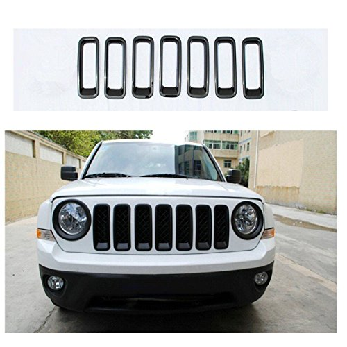 FMtoppeak Set Black Front Grille Trims Kit Grill Insert Covers for 2011-2016 Jeep Patriot ()