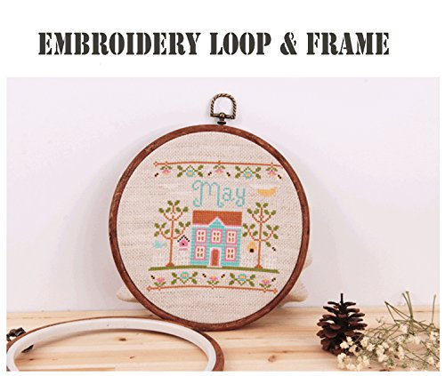 Embroidery Hoops Cross Stitch Hoop Ring Imitated Wood Circle Set Display Frame For Art Craft ...