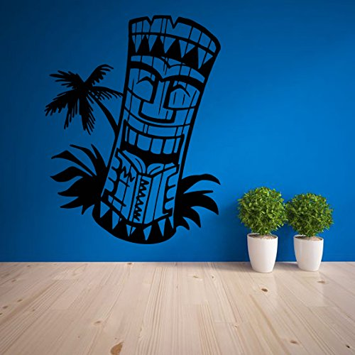 Wall-Vinyl-Sticker-Decals-Mural-Room-Design-Pattern-Art-Decor-Tiki-bar-logo-totem-Island-Hawaii-Statue-Mask-Culture-mi170