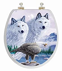 TOPSEAT 6TS3R8200CP Vario Scenario 3D Wolves and Eagle Multi Images Round Toilet Seat, Chromed Metal Hinges, Wood, White