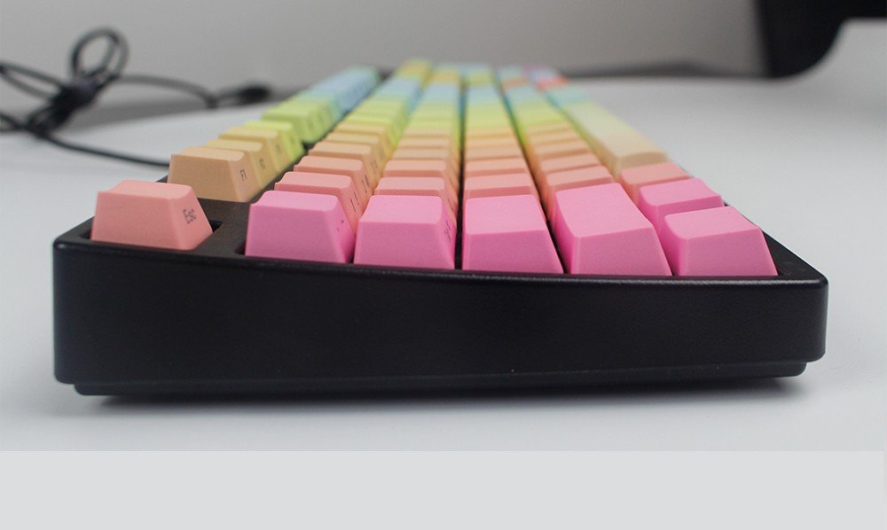 NPKC Rainbow Color Gradient Keycaps Thick PBT Laser-Etched Cherry or OEM Profile for Cherry MX Switches of Mechanical Keyboard 104-key