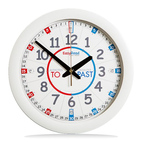 easy to read teacher classroom wall clock telling time