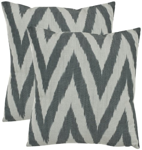 Safavieh Pillow Collection Zig-Zag 22-Inch Decorative Pillows, Silver and Grey, Set of 2