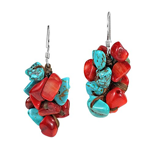 Beautiful Cluster Simulated Turquoise and Reconstructed Coral Dangle Sterling Silver Earrings
