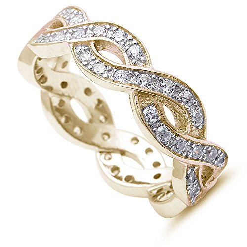 Oxford Diamond Co Yellow Gold Plated Infinity Design Eternity Style Band .925 Sterling Silver Ring Sizes 4-12 (Yellow-Gold-Plated-Silver, 5)