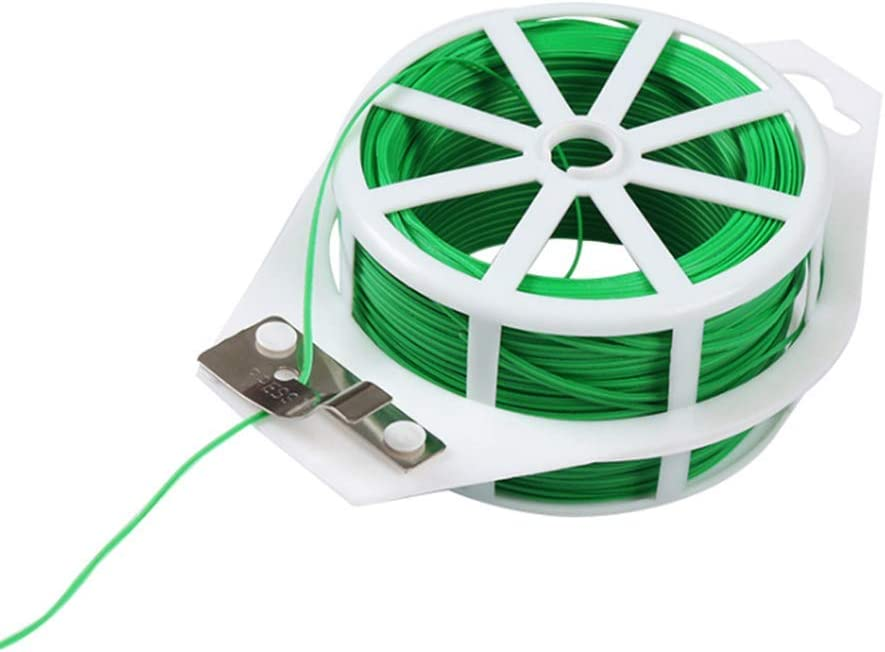 Multi-purpose 328 Feet Garden Twist Ties for Plants Twist Ties with Cutter, Green Twist Ties for Plants Support Green Coated Plant Ties for Climbing Plants Twine for Garden Office and Home Cable