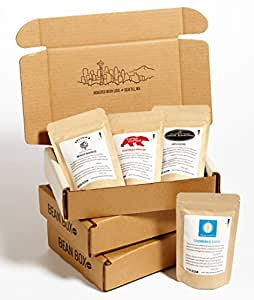 Bean Box Gourmet Coffee Sampler - 3-Month Gift Subscription - (fresh roasted coffee gift box, specialty whole bean, 4 roasts every month, Christmas gift, holiday gift)