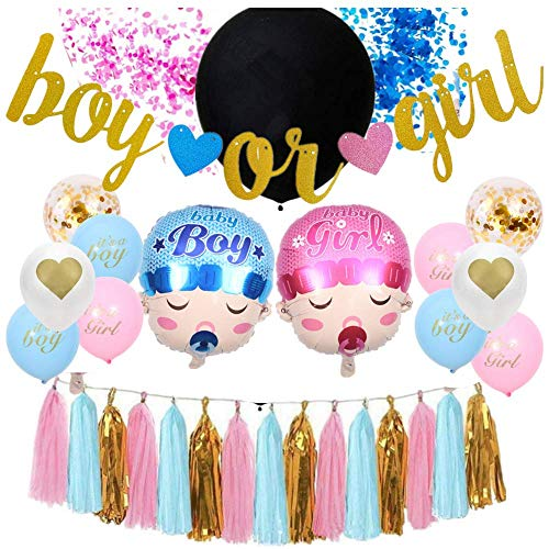 Gender Reveal Party Supplies | Baby Shower Decorating Set | Boy or Girl Banner | Pink and Blue Confetti | Boy and Girl Balloons | Pink and Blue Balloons | Pink and Blue Tassels | Giant Balloon | Special Decorations Baby Shower